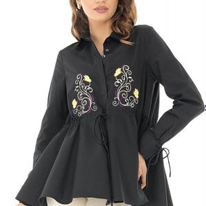 camasa neagra cu broderie pe partea din fata roh br2062 b 8260 1