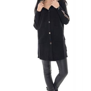 cardigan de dama roh negru cu gluga in contrast jr536 9699 1