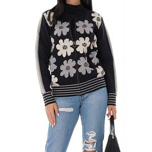 cardigan tricotat cu imprimeu daisey negru gri roh br2338 9541 1