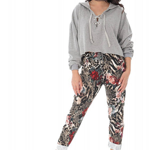 casual fit printed joggers with 2 side pockets animal print roh tr385 9415 1