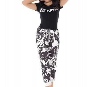 casual fit printed joggers with 2 side pockets black white roh tr384 9413 1
