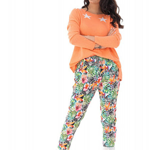 casual fit printed joggers with 2 side pockets tropical print roh tr382 9412 1
