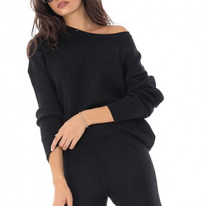 compleu bluza si pantalon neagra cu aspect ripsat roh tr336 8878 1