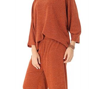 compleu bluza si pantalon portocaliu cu lurex roh t346 9056 1