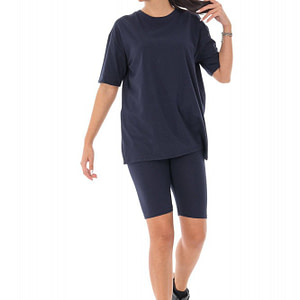 costum de dama casual din bumbac bleumarin navy roh tr415 9537 1