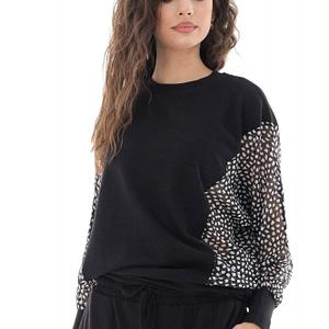 costum de dama negru cu maneci imprimate roh tr424 9679 1