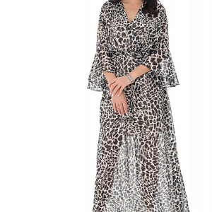 elegant chiffon wrap over maxi with a matching belt tiger print roh dr4181 9401 1