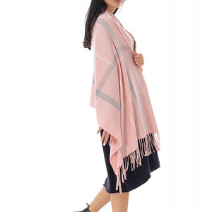 fine wool casimir blend checked shawl pink roh a0440 9648 1