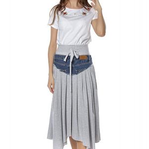 fusta midi gri cu apliatie din jeans roh fr423 8072 1