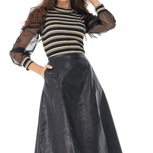 fusta neagra midi din piele ecologica roh fr464 9068 1