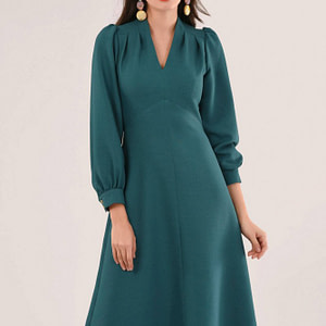 green v neck puff sleeve dress roh dr4224 9528 1