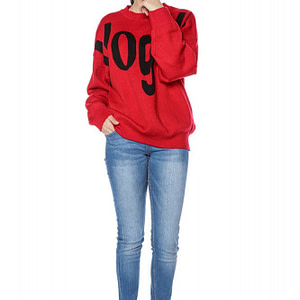 high quality knitted oversize jumper with vogue print red br2300 9259 1