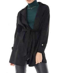 jacheta neagra din piele intoarsa cu cordon roh jr510 9143 1