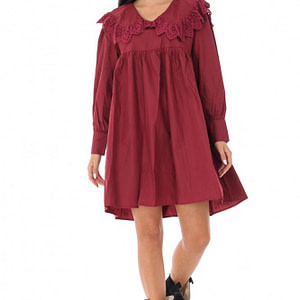 ladies baby doll style tunic dress roh with lace trim wine dr4232 9568 1