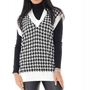 ladies cream and black dogtooth tank top roh br2375 9659 1