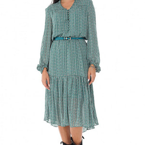 ladies delicate printed midi dress roh high neck green dr4231 9565 1