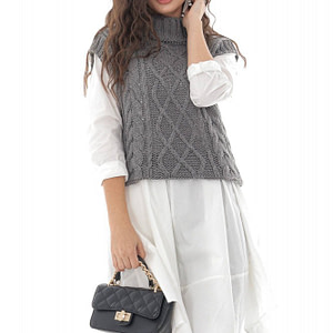 ladies grey high neck cable knitted vest roh br2389 9690 1