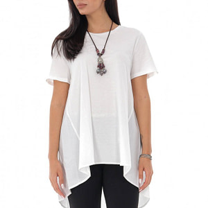 ladies high low t shirt roh cotton back white br2356 9574 1