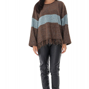 ladies oversize casual jumper roh contrasting stripe brown br2350 9560 1