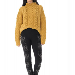 ladies thick black leggings with a diamonte butterfly detail roh tr422 9660 1