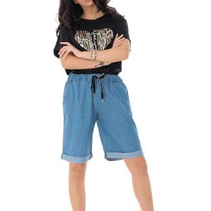 loose fitting soft denim shorts with turn up hem light denim roh tr395 9428 1