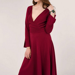 maroon long sleeve wrap dress roh dr4053 9064 1