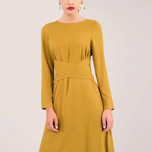 mustard cross tie detail a line dress roh dr3918 8653 1