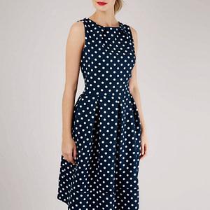 navy and white polka dot midi dress roh dr3884 8555 1