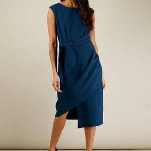 navy sleeveless wrap dress with tie roh dr3933 8690 1