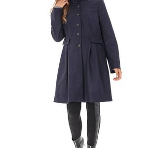 palton bleumarin cu guler inalt roh jr470 8759 1