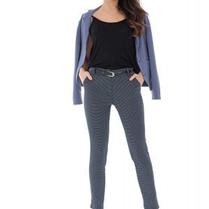pantaloni bleumarin cu curea in talie roh tr350 9210 1