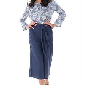 pantaloni culotte cu cordon in talie bleumarin roh tr367 9300 1