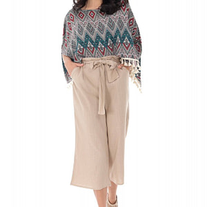 pantaloni culotte cu cordon in talie stone roh tr368 9301 1