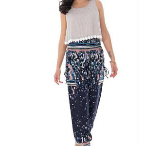 pantaloni harem cu imprimeu abstract bleumarin roh tr366 9296 1