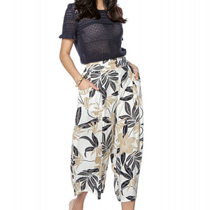 pantaloni trei sferturi cu imprimeu frunze roh tr356 9234 1