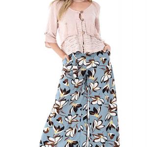 pantaloni turquaz roh cu imprimeu retro tr225 7011 1