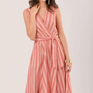 peach stripe sleeveless wrap midi dress roh dr4160 9363 1
