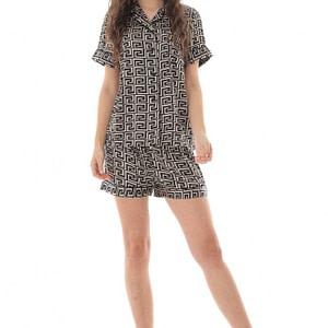 pijama de dama scurta roh negru cu imprimeu geometric tr427 9685 1