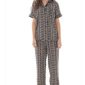 pijama de dama set roh negru din satin tr428 9686 1