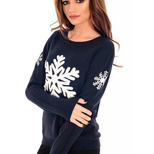 pulover bleumarin cu fulg de nea br1546 6267 1