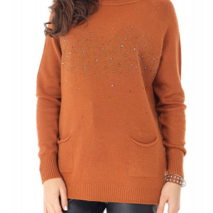 pulover caramiziu cu strasuri si buzunare roh br2233 9071 1