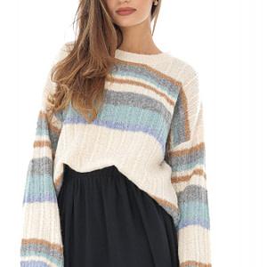 pulover crem cu dungi in contrast roh br2160 8750 1