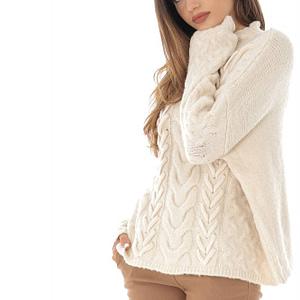 pulover crem cu guler inalt roh br2166 8768 1