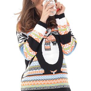 pulover de craciun multicolor cu un pinguin dragut roh br2214 8940 1