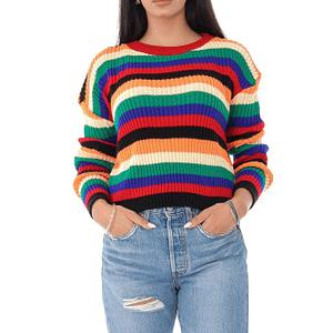 pulover de dama crop cu dungi multicolore roh br2337 9538 1