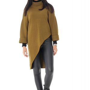 pulover de dama oversize roh kaki cu guler inalt br2367 9577 1
