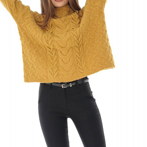 pulover mustar cu guler inalt roh br2163 8765 1