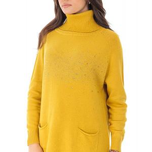 pulover mustar cu strasuri si buzunare roh br2232 9072 1