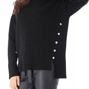 pulover negru cu guler scurt roh br2235 9069 1