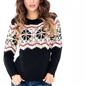 pulover negru roh cu imprimeu br1937 7718 1